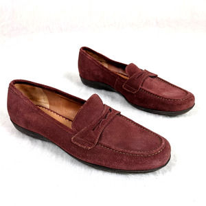 Lands' End Mauve Suede Leather Slip On Loafers 8.5